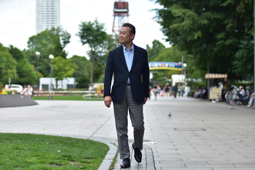 大通公園にて佐藤等さん